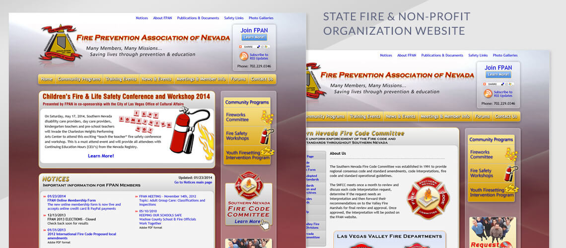Fire Prevention Association of Nevada - State Fire & Non-Profit Organization Website Design