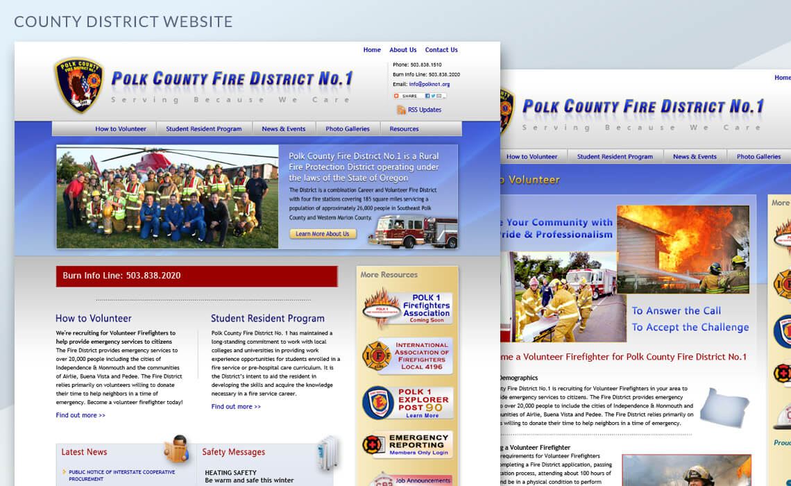 Polk County Fire District No.1 - County Fire District Web Design