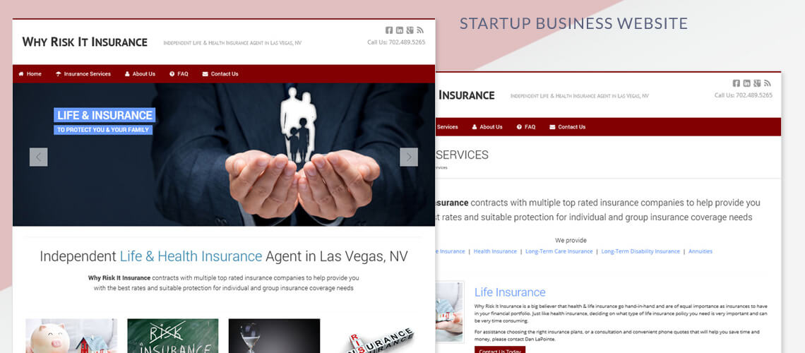 Why Risk It Insurance  - Startup Business Website Design