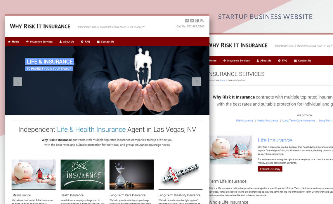 Why Risk It Insurance - Startup Business Responsive Website Design