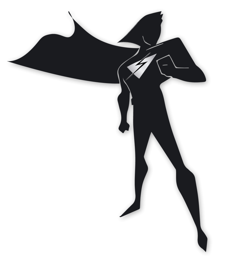 Superhero with Snelling Web Development logo standing guard over website